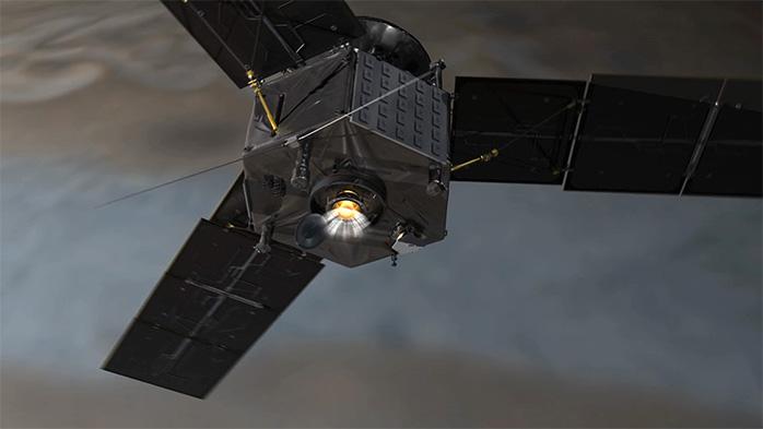 Artist's rendering of Juno's firing its main engine durin orbit insertion. (NASA/JPL-Caltech)