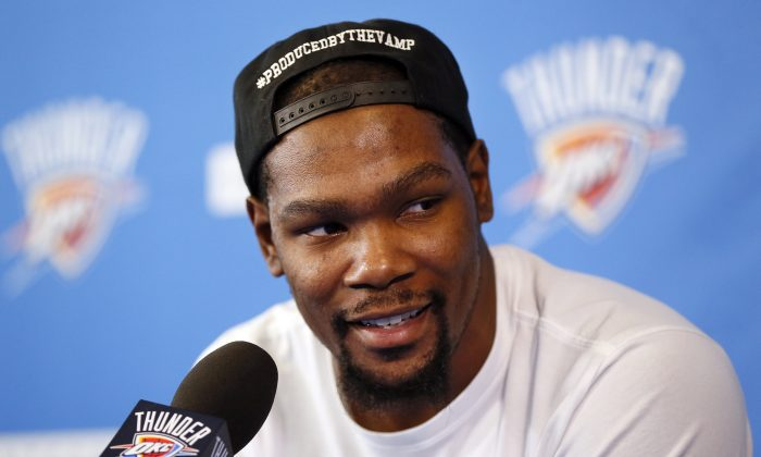 Kevin Durant had played his entire 9-year career with the Oklahoma City Thunder—which were the Seattle Supersonics when they drafted him second overall in 2007. (Nate Billings/The Oklahoman via AP)