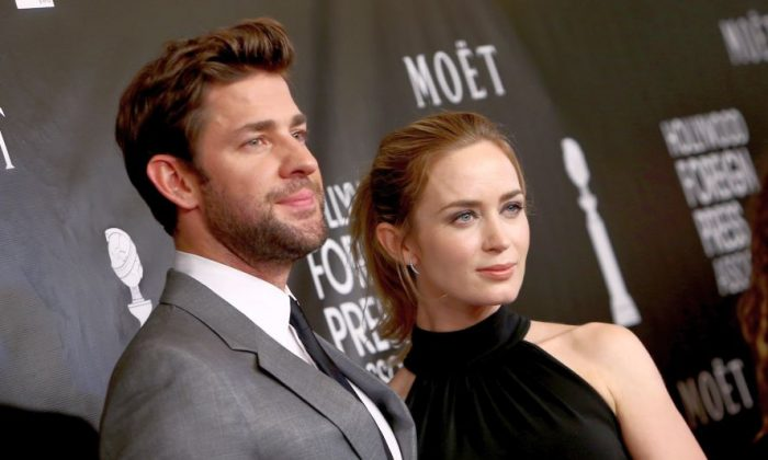 In this Aug. 13, 2015, file photo, John Krasinski, left, and Emily Blunt arrive at The Hollywood Foreign Press Association's Annual Grants Banquet at the Beverly Wilshire hotel in Beverly Hills, Calif.  (Photo by John Salangsang/Invision/AP, File)