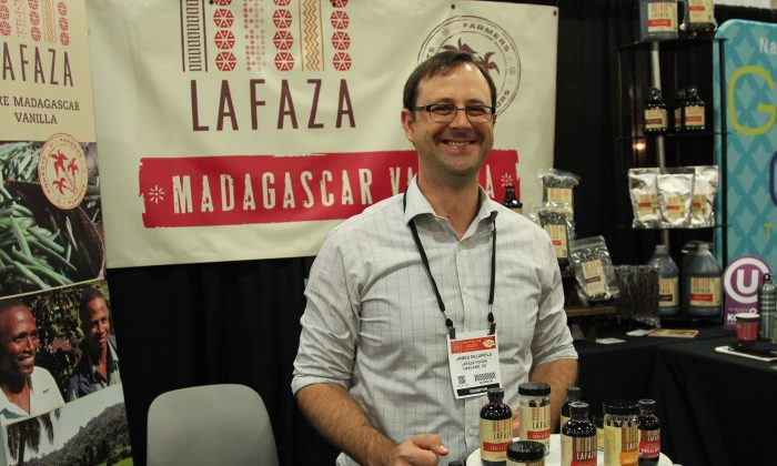 James Delafield, president of LAFAZA, a vanilla company, at the 2016 Summer Fancy Food Show in New York. (Andrea Hayley/Epoch Times)