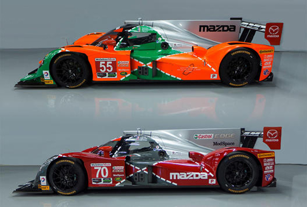Tristan Nunez's #55 Mazda prototype is painted green, orange, and silver in honor of the marque's 1991 win at Le Mans with the 787B rotary prototype. The #70 bears an identical pattern but in red, silver, and grey, expressing Mazda Motorsports' current and future palette. (IMSA.com)