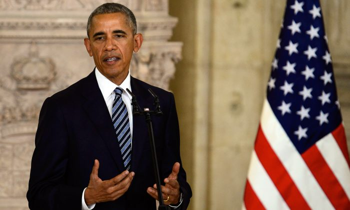 President Barack Obama give a speech at The Royal Palace in Madrid, Spain, on July 10, 2016. (Borja B. Hojas/Getty Images)