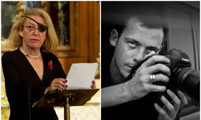 Left: Marie Colvin of The Sunday Times, gives the address during a service at St. Bride's Church November 10, 2010 in London, England. (Arthur Edwards - WPA Pool/Getty Images); Right:  Undated  photo of French photographer Remi Ochlik who died Wednesday Feb. 22, 2012  in Homs, Syria. (AP Photo/Lucas Dolega)