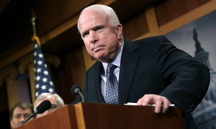 Sen. John McCain (R-AZ) at a press conference in Washington, on February 5, 2015. (Win McNamee/Getty Images)