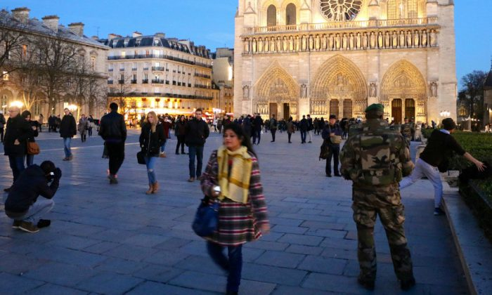 As part of Operation Sentinelle, 10,000 French troops are deployed to patrol the streets—including 6,500 in Paris alone. (Nolan Peterson/The Daily Signal)