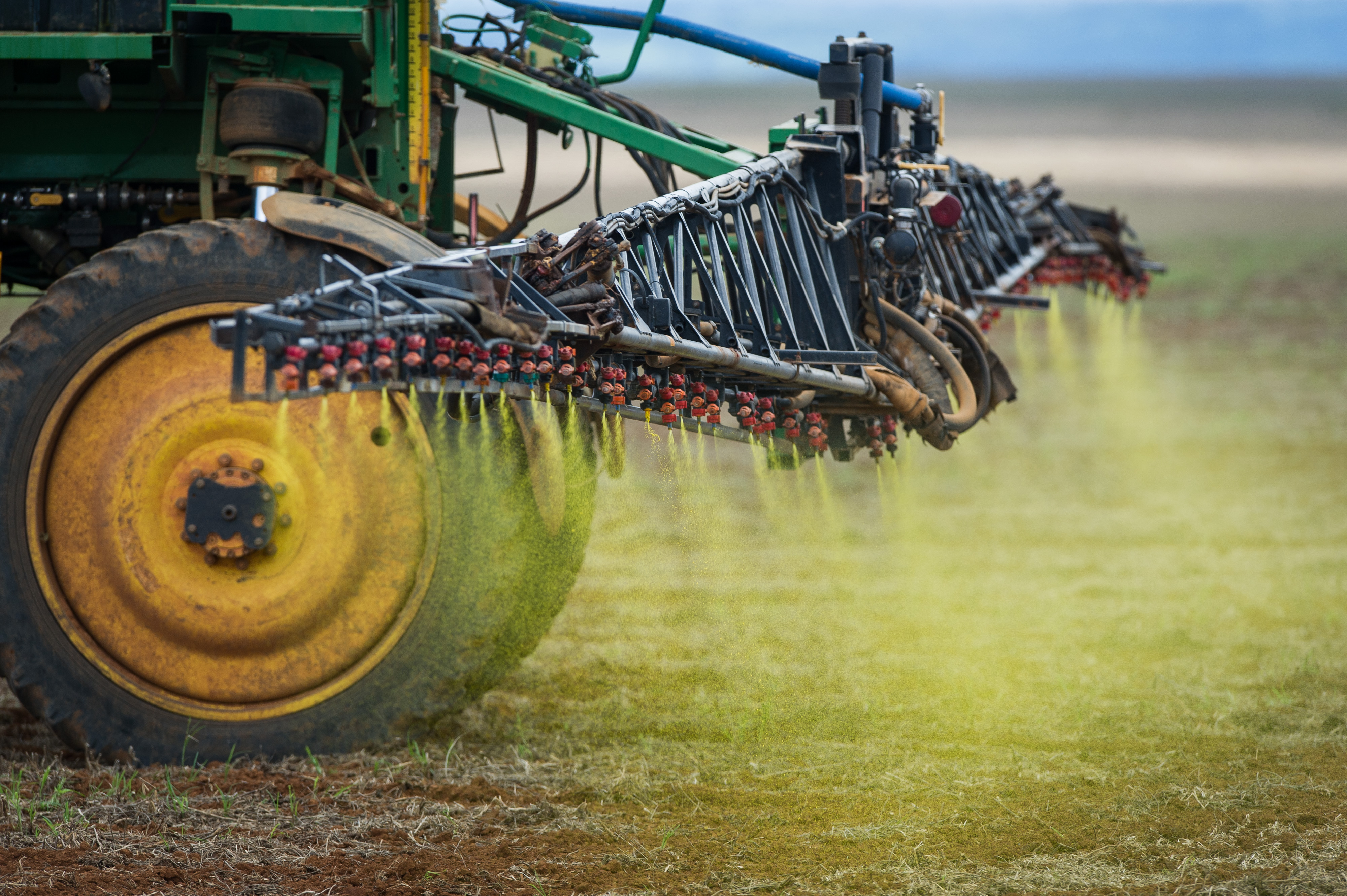Herbicide is sprayed on a soybean field in the Cerrado plains near Campo Verde, Mato Grosso state, western Brazil on Jan. 30, 2011. (Yasuyoshi Chiba/AFP/Getty Images)