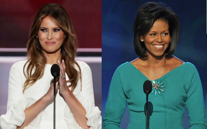 Left: Melania Trump delivers a speech at the Republican National Convention on July 18, 2016. (Alex Wong/Getty Images) Right: Michelle Obama delivers a speech at the Democratic National Convention on August 25, 2008. (Paul J. Richards/AFP/Getty Images)