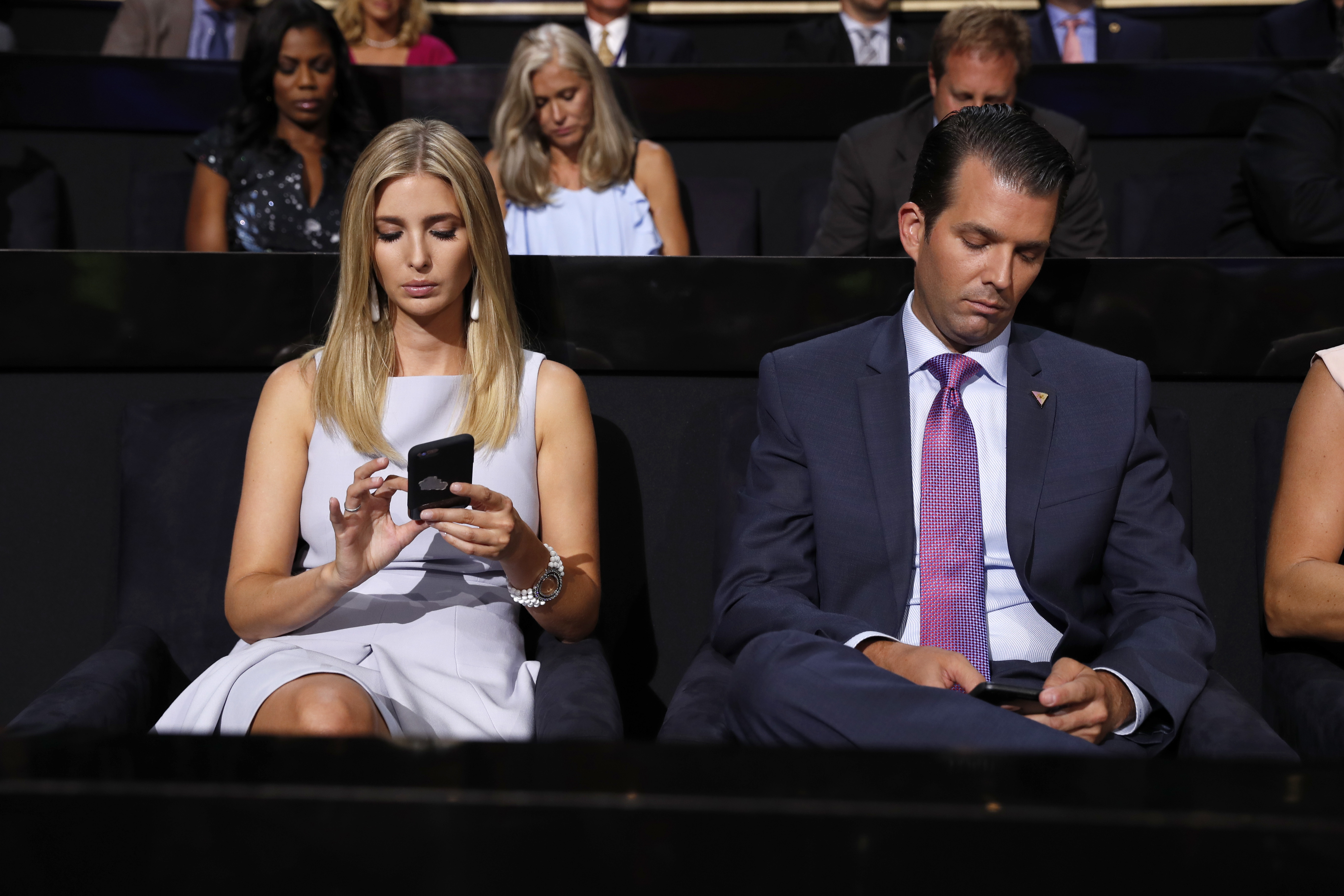 Donald Trump's children Ivanka Trump and Donald Trump Jr., during the second day session of the Republican National Convention in Cleveland, Tuesday, July 19, 2016. (AP Photo/Carolyn Kaster)