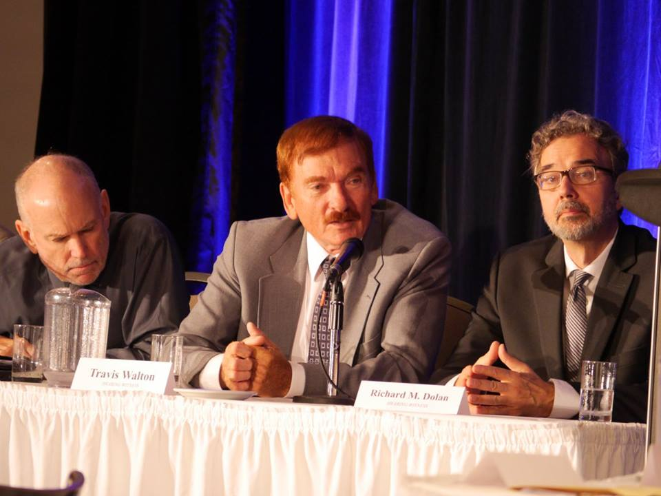 "Travis Walton, whose story of being abducted by extraterrestrials was made famous in the movie, ""Fire in the Sky,"" speaks at a disclosure hearing in Brantford, Canada, on June 25, 2016. (Courtesy of Zland Communications)"