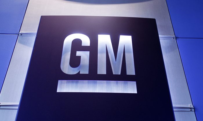 FILE-A General Motors logo is shown at the General Motors Technical Center, on June 5, 2014 in Warren, Michigan.  (Photo by Bill Pugliano/Getty Images)