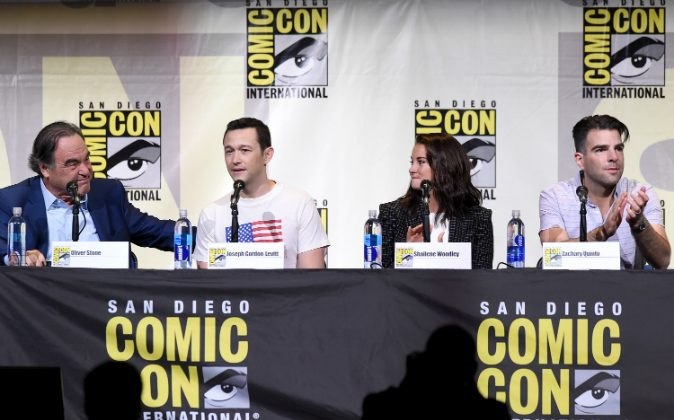 (L-R) Writer/director Oliver Stone, actors Joseph Gordon-Levitt, Shailene Woodley, and Zachary Quinto attend the 'Snowden' panel during Comic-Con International 2016 at San Diego Convention Center on July 21, 2016 in San Diego, California. (Kevin Winter/Getty Images)