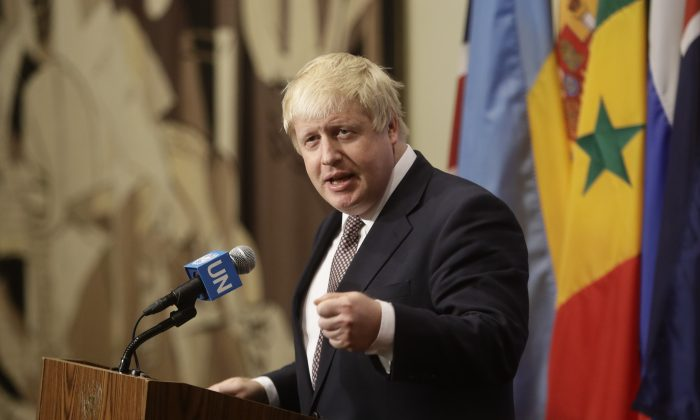 Britain's Foreign Secretary Boris Johnson speaks to the media at United Nations headquarters on July 22, 2016. (AP Photo/Frank Franklin II)