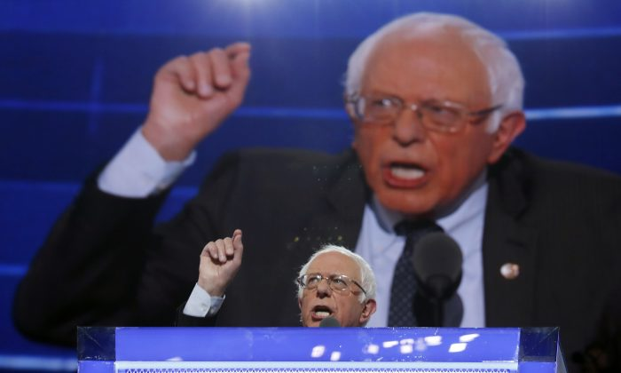 Former Democratic Presidential candidate, Sen. Bernie Sanders (I-Vt) on the first day of the Democratic National Convention in Philadelphia on  July 25. (AP Photo/Carolyn Kaster)