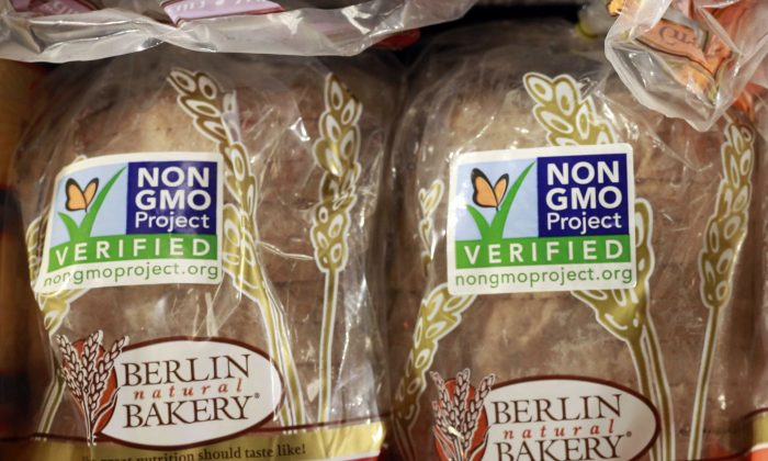 Products labeled with Non Genetically Modified Organism (GMO) at the Lassens Natural Foods & Vitamins store in Los Angeles. (AP Photo/Damian Dovarganes, File)