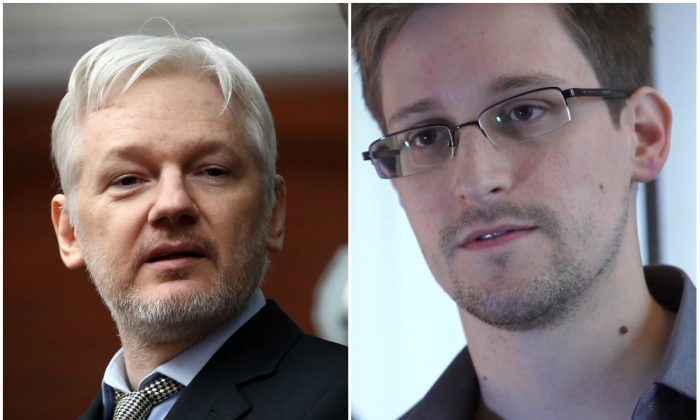 Wikileaks founder Julian Assange at the Ecuadorian embassy in London, Feb. 5, 2016. (Carl Court/Getty Images); Edward Snowden in Hong Kong in 2013. (The Guardian via Getty Images)