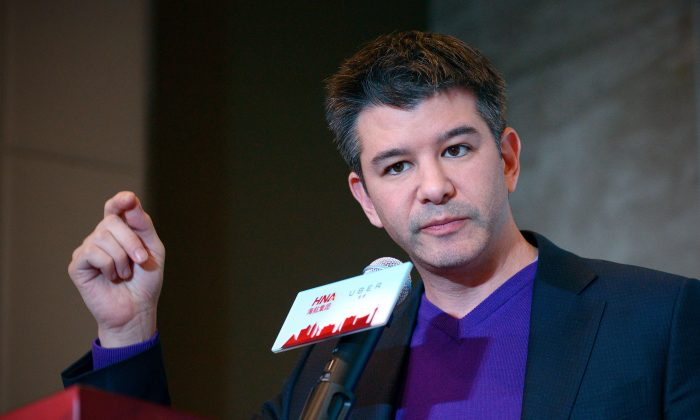 Travis Kalanick, CEO of the ridesharing service Uber, speaks during a press conference in Beijing Jan. 11. (Wang Zhao/AFP/Getty Images)