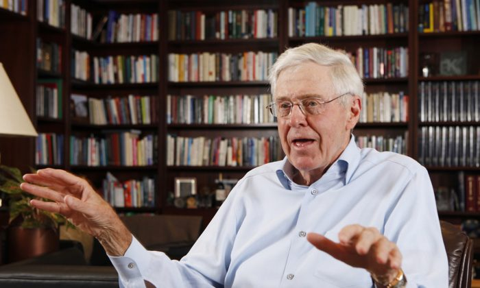 Charles Koch speaks in his office at Koch Industries in Wichita, Kansas, on May 22, 2012. (Bo Rader/The Wichita Eagle via AP)