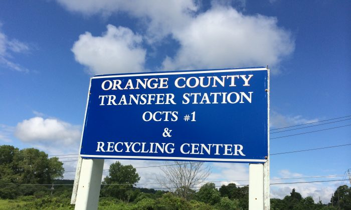The sign in front of the Orange County  Transfer Station Number 1 in Goshen  on Aug. 2, 2016. (Holly Kellum/Epoch Times)