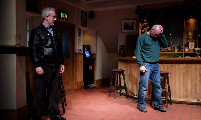 """(L–R) Ian (Declan Conlon) is meeting his boyhood friend Jimmy (Patrick O'Kane) in order to come to terms with events from the past, in Owen McCafferty's powerful drama, """"Quietly."""" (James Higgins)"""