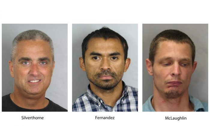 """(L-R) City of Fairfax, Va. Mayor Richard """"Scott"""" Silverthorne, Juan Jose Fernandez, 34, and Caustin Lee McLaughlin, 21, both of Maryland. Silverthorne is facing drug charges after police say he was arrested in a meth-for-sex sting. Police say detectives located Silverthorne's two suppliers and they were also arrested and charged. (Fairfax County, Va., Police Department via AP)"""