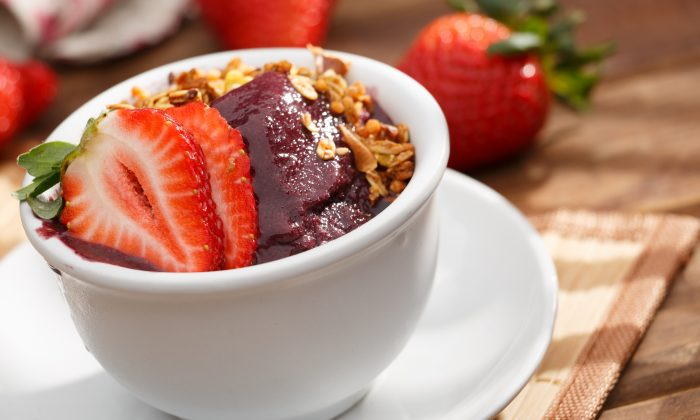 Acai fruit Amazon in the bowl. (diogoppr/Shutterstock)