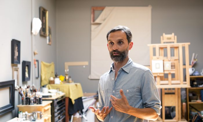Artist Tony Curanaj talks about his work and art, in his studio in upstate, New York, on July 28, 2016. (Samira Bouaou/Epoch Times)