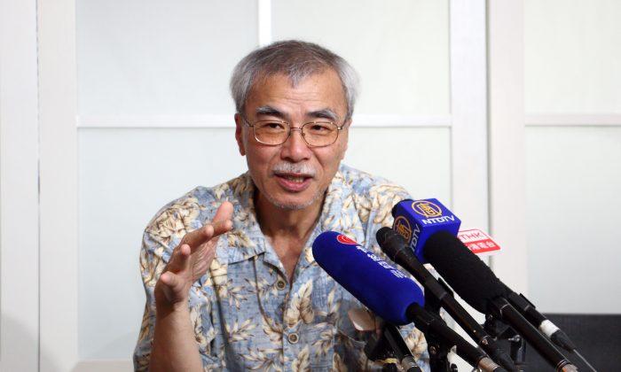Joseph Lian Yi-zheng speaking to the press on Aug 9, 2016. (Kiri Choi/Epoch Times)