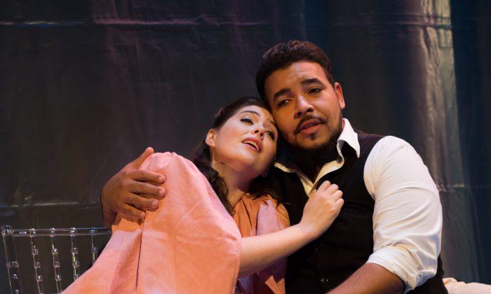 """Soprano Bonnie Frauenthal as Violetta and tenor Jose Heredia as Alfredo in dell'Arte Opera Ensemble's production of """"La Traviata."""" (Mark Baker)"""