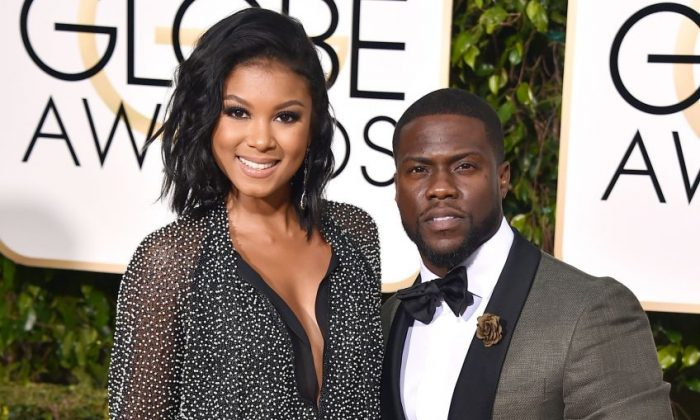 In this Jan. 10, 2016, file photo, Eniko Parrish, left, and Kevin Hart arrive at the 73rd annual Golden Globe Awards in Beverly Hills, Calif. The couple were wed in a lavish ceremony near Santa Barbara, Calif. on Saturday, Aug. 13. ( Jordan Strauss/Invision/AP, File)