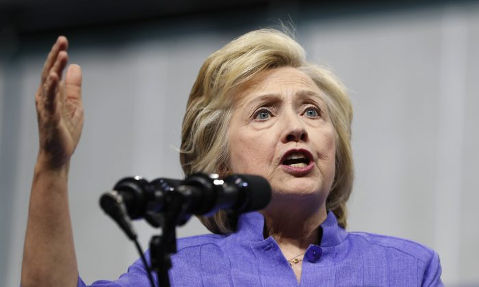 Democratic presidential candidate Hillary Clinton speaks at a campaign event at Riverfront Sports in Scranton, Pa., on Aug. 15, 2016. (AP Photo/Carolyn Kaster)