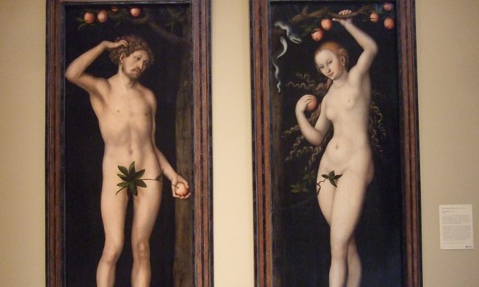 Adam and Eve paintings by Lucas Cranach the Elder at the Norton Simon Museum in Pasadena, Calif. on January 15, 2011. (Rachael Moore/Flickr Creative Commons)