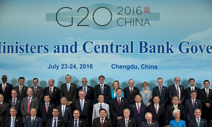 Finance Ministers and Central Bank Governors of the 20 most developed economies at the G20 Finance Ministers and Central Bank Governors meeting in Chengdu, China, on July 24.  (Ng Han Guan-Pool/Getty Images)