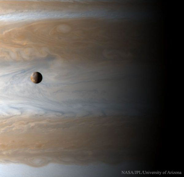 "How big is Jupiter's moon Io? The most volcanic body in the Solar System, Io (usually pronounced ""EYE-oh"") is 3,600 kilometers in diameter, about the size of Earth's moon. Gliding past Jupiter at the turn of the millennium, the Cassini spacecraft captured this awe inspiring view of active Io with the largest gas giant as a backdrop, offering a stunning demonstration of the planet's relative size. (Cassini Imaging Team, SSI, JPL, ESA, NASA)"
