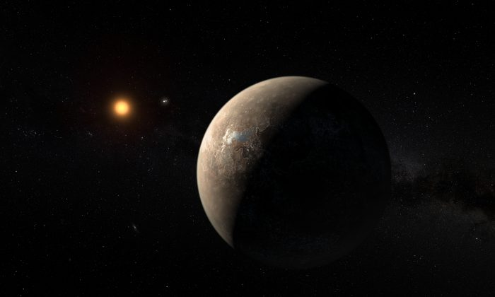 This artist's impression shows the planet Proxima b orbiting the red dwarf star Proxima Centauri, the closest star to the Solar System. (ESO/M. Kornmesser)