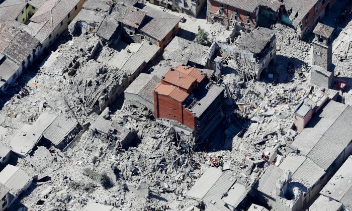 This aerial photo shows the historical part of the town of Amatrice, central Italy, after an earthquake on Aug. 24. (AP Photo/Gregorio Borgia)