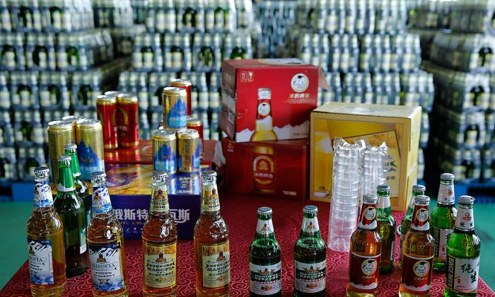 Beer is displayed at the Jinzhu Manjiang beer factory in Heilongjiang Province, China, on Aug. 1, 2013. (Lintao Zhang/Getty Images)
