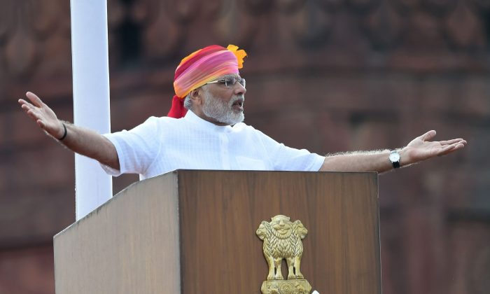 Indian Prime Minister Narendra Modi gestures as he delivers his Independence Day speech from The Red Fort in New Delhi on Aug. 15, 2016. (Prakash Singh/AFP/Getty Images)