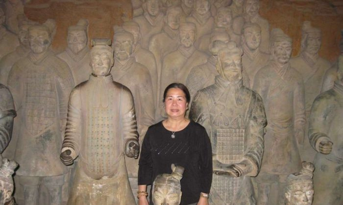 Sandy Phan-Gillis at the Mausoleum of Emperor Qin Shihuang, near Xi'an, China, in an undated photo. (via the Houston Chronicle/courtesy of Jeff Gillis)