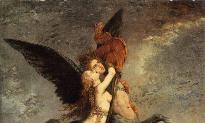 """The Chimera,"" 1867, by Gustave Moreau (French, 1826–1898). Oil on panel, 13 inches by 10 3/4 inches. (Fogg Art Museum)"