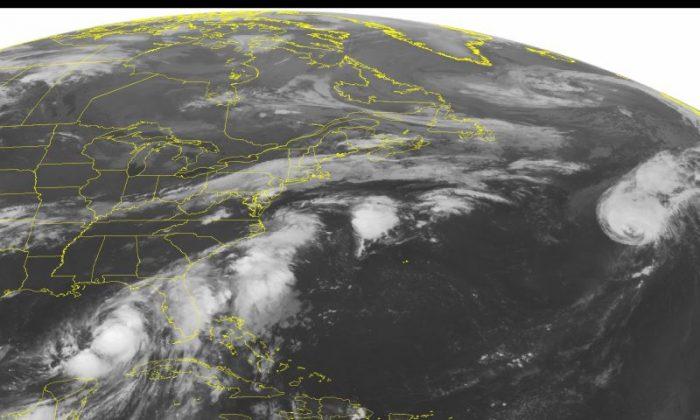 This NOAA satellite image taken Thursday, September 01, 2016 at 12:45 AM EDT shows large amounts of thunderstorm activity. (NOAA/Weather Underground via AP)
