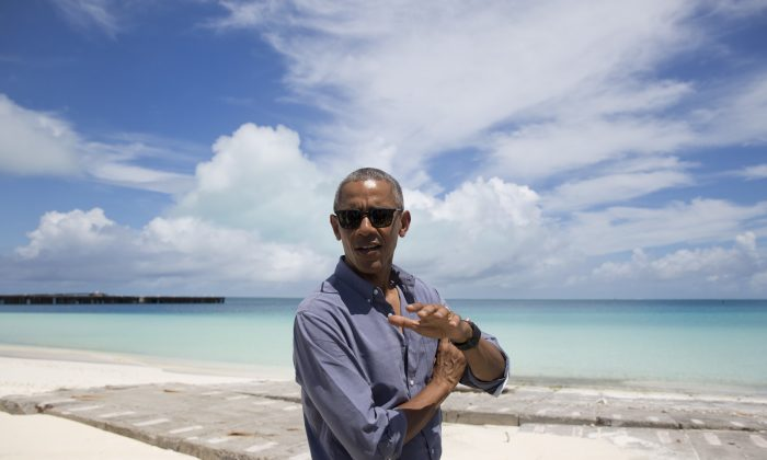 President Barack Obama speaks to media as he tours on Midway Atoll in the Papahanaumokuakea Marine National Monument, Northwestern Hawaiian Islands, Sept. 1, 2016. (AP Photo/Carolyn Kaster)