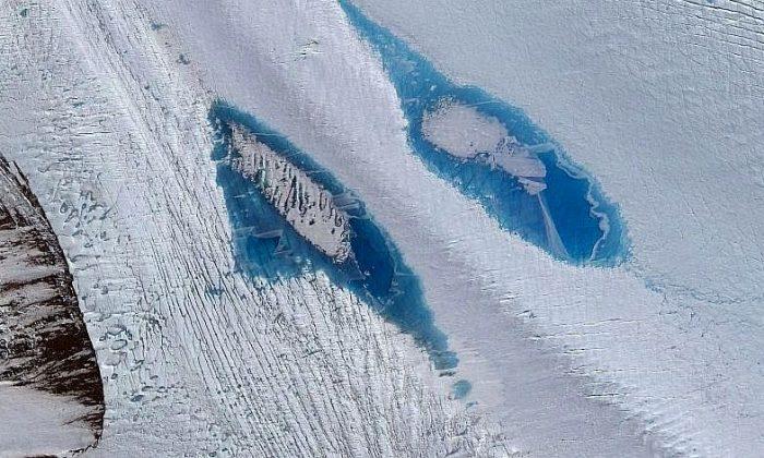 Lakes on Langhovde Glacier in eastern Antarctica. (DigitalGlobe, Inc.)