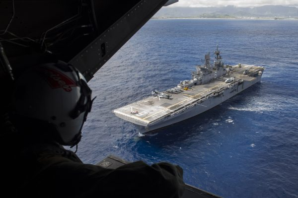 The amphibious assault ship USS America (LHA 6) conducts flight operations near the island of Hawaii in the Pacific Ocean on July 30, 2016. (U.S. Navy Mass Communication Specialist 1st Class Ryan Riley/U.S. Navy)