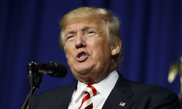 Republican presidential candidate Donald Trump speaks during a campaign rally in Wilmington, Ohio, on Sept. 1, 2016. (AP Photo/Evan Vucci)