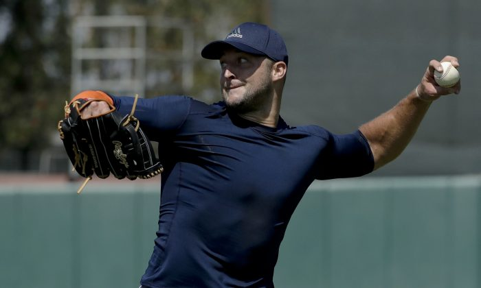 Former NFL quarterback, Tim Tebow in a stock photo (Chris Carlson/AP Photo)