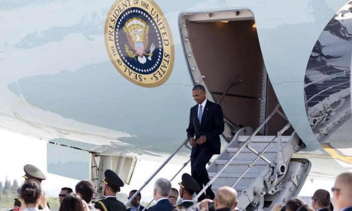 President Barack Obama arrives on Air Force One at Hangzhou Xiaoshan International Airport in Hangzhou in eastern China's Zhejiang province, on Sept. 3. (AP Photo/Carolyn Kaster)