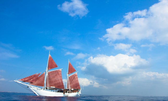 The Katharina, a traditional pinisi-style schooner that sails to islands in the Indonesian Archipelago. (Courtesy of Seatrek Sailing Adventures)