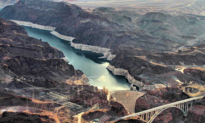 The Hoover Dam on the Colorado River is operating at 30 percent capacity, and new turbines have to be installed at lower elevation because of low precipitation and drought. (Airwolfhound/Flickr, CC BY-SA)