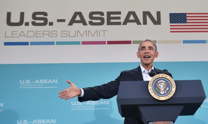 President Barack Obama at a press conference following a meeting of the Association of Southeast Asian Nations (ASEAN) at the Sunnylands estate in Rancho Mirage, Calif., on Feb. 16, 2016. (Mandel Ngan/AFP/Getty Images)