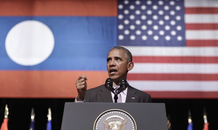 U.S. President Barack Obama speaks at the Lao National Cultural Hall in Vientiane, Laos, Tuesday, Sept. 6, 2016. (AP Photo/Carolyn Kaster)